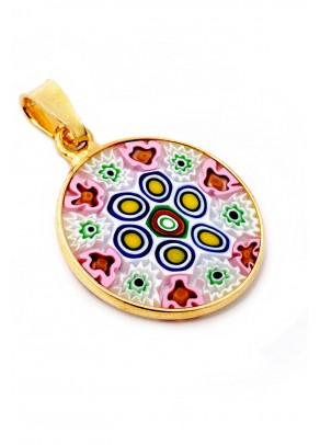 Murrine Pendant Fiore (gold plated silver, 1,8 cm)
