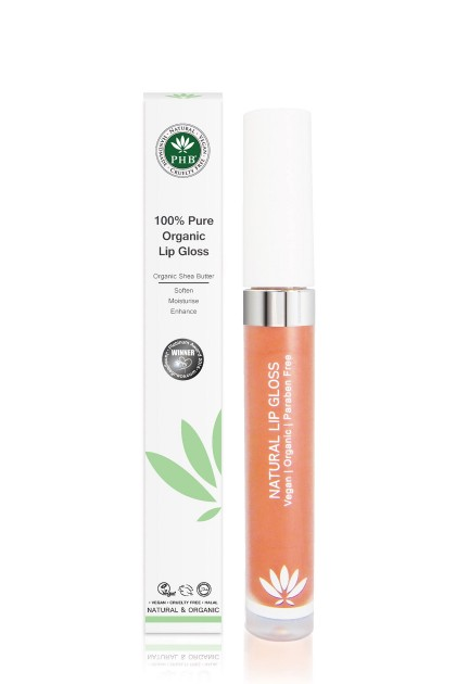 Organic lip gloss with shea butter, jojoba oil, tangerine oil (Peach).)