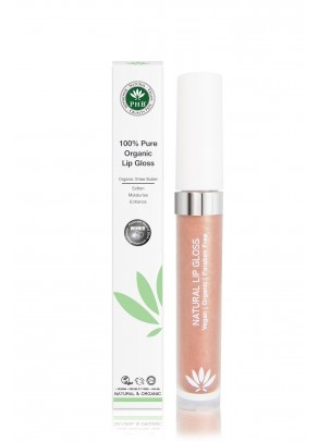Organic lip gloss with shea butter, jojoba oil, tangerine oil (Blossom).
