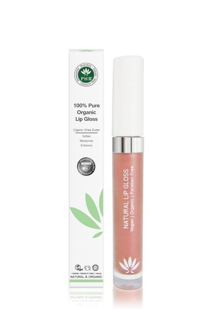 Organic lip gloss with shea butter, jojoba oil, tangerine oil (Petal).