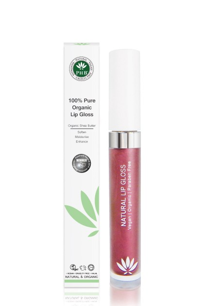 Organic lip gloss with shea butter, jojoba oil, tangerine oil (Mulberry).