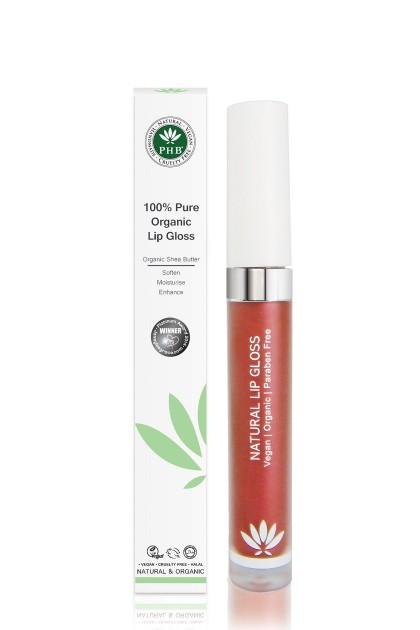 Organic lip gloss with shea butter, jojoba oil, tangerine oil (Cranberry).