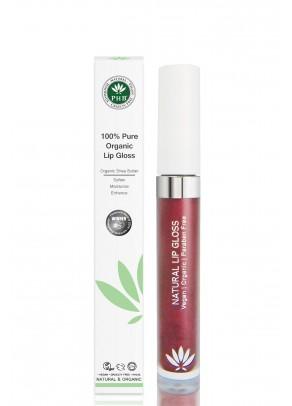 Organic lip gloss with shea butter, jojoba oil, tangerine oil (Plum).