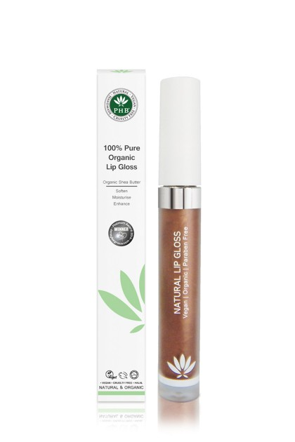 Organic lip gloss with shea butter, jojoba oil, tangerine oil (Cocoa).