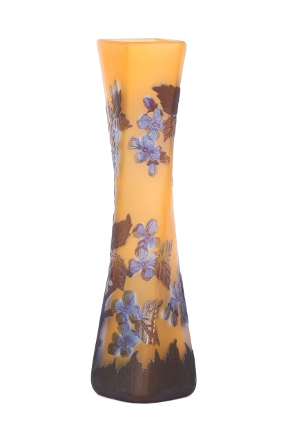 Blue Flowers Cameo Glass Vase Galle Type