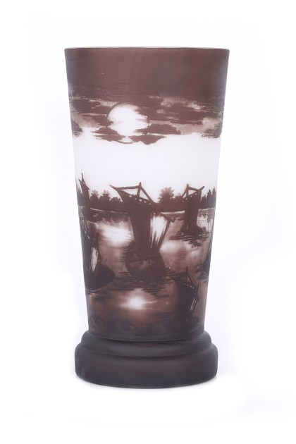 Stormy Seas Cameo Glass Vase Galle Type