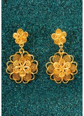 Cercei Florecitas din filigran de argint placat cu aur