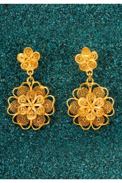 Florecitas - Cercei din argint placat cu aur