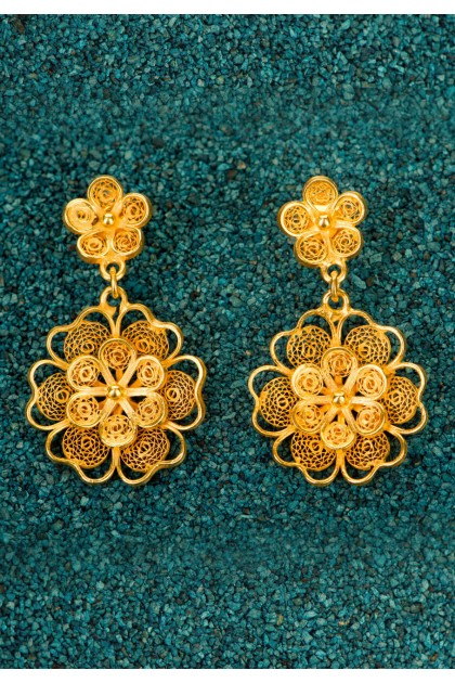 Florecitas - Gold plated silver filigree earrings