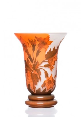 """Orange Daffodils"" Vase -Galle type"